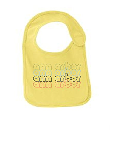 Ann Arbor Michigan Retro Funny Infant Jersey Bib Yellow One Size (Jersey Rivalry)