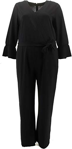 H Halston Knit Crepe Full Length Wide Leg Jumpsuit Black XL New A343473 from H by Halston