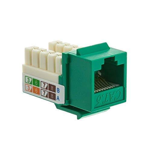 GOWOS Cat6 Keystone Jack, Green, RJ45 Female to 110 Punch Down - Inline UTP LAN Modular Patch Stand Punch Down Panel