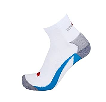 IronMan Calcetines Active Sock White Blue Medium (EU39/42 Size)
