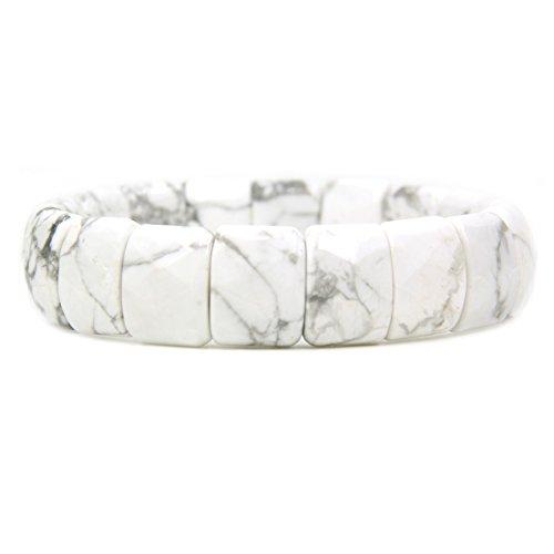(Amandastone Natural White Howlite Gemstone 15mm Square Grain Faceted Beaded Stretchable Bracelet 7