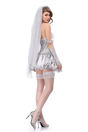 Moon Market Women Zombie Ghost Dead Bride Halloween Costume Bridal Mini Skirt Outfit (XL) Vampire hauntng Beauty Queen spilit Victorian Wedding Horror Skelton Festival Groom Skirt Outfit by Moon Market (Image #2)