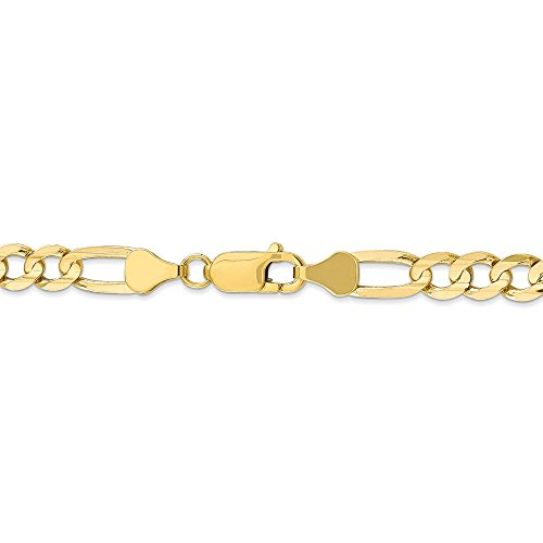 - 6 mm 10k Yellow Gold Concave Figaro Chain Bracelet - 7 Inch
