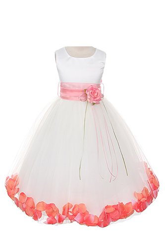 Satin Bodice Communion Flower Girl Pageant Petal Dress: Ivory/Coral - 8