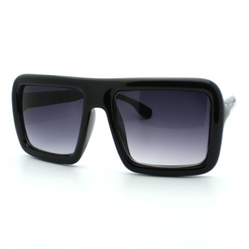 Black Oversized Square Sunglasses Flat Top Thick Nerdy Hipster - Thick Sunglasses Square
