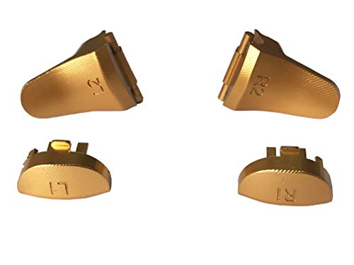 Aluminum Alloy Metal L1 R1 L2 R2 Trigger Buttons Replacement with 2 Springs for PS4 Slim/Pro Controllers (Gold) ()