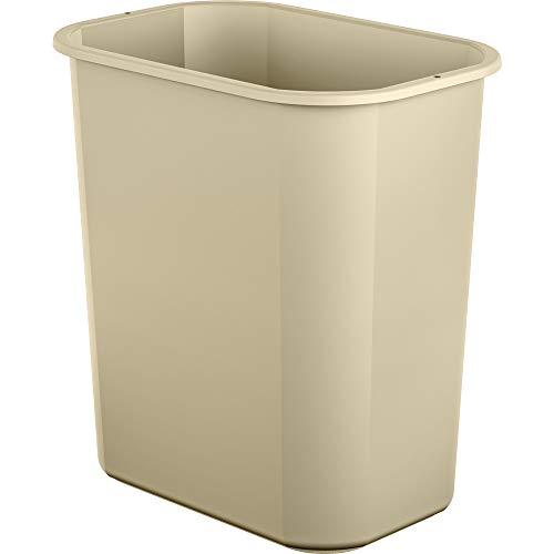 AmazonBasics 3 Gallon Plastic Commercial Trash Waste Basket, Beige, 4-Pack
