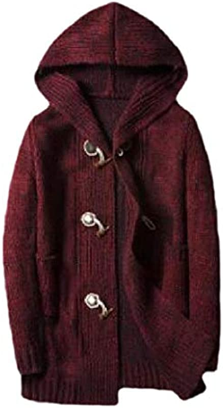 H&E Men's Jumper Horn Button Loose Fit Fall Winter Hoodie Knitted Cardigan Sweater Coat: Odzież