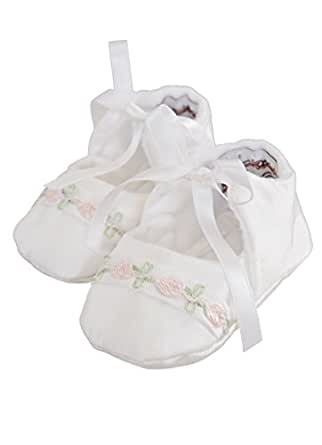 Jessa Silk Christening Baptism Shoes for Girls, Made in USA-4