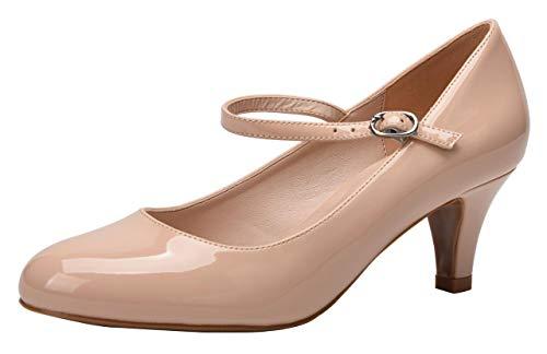 Women's Classic Low Mid Heels Round Toe Vintage Retro Shoes Comfort Pumps Shoes Nude Patent PU Size US8.5 EU41