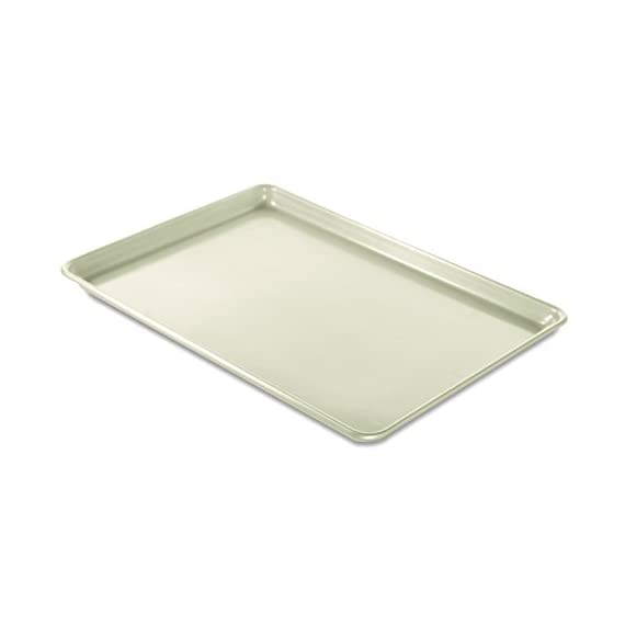 "Nordic ware big sheet naturals aluminum, 21"" x 15"", nonstick 1 large surface area and fits in standard oven baked goods rise and bake evenly due to aluminums superior heat conductivity and the reinforced encapsulated steel rim prevents warping nonstick interior for easy realease and clean-up, hand wash only"