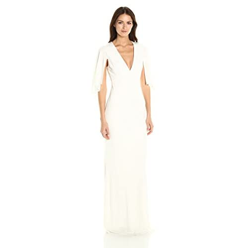 ABS Allen Schwartz Women's Matte Jersey Gown W/ Capelet Sleeves