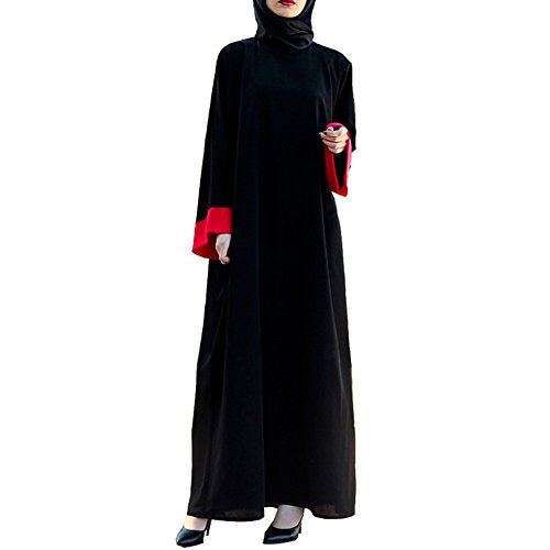 OVERMAL Muslim Women Islamic Splice Pure Color Plus Size Middle East Long Dress by OVERMAL Dress