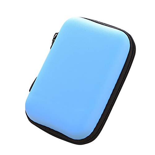 YJYdadaS Mini Zipper Hard Leather Earphone Storage Bag Earphone Pouch Box -