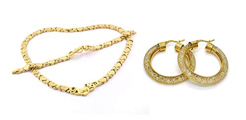 SPARKLE XOXO Womens 14k Gold Finish I Love You Hugs & Kisses Necklace Bracelet and Earrings Set with Fancy Filigree Hoop Earrings (18)