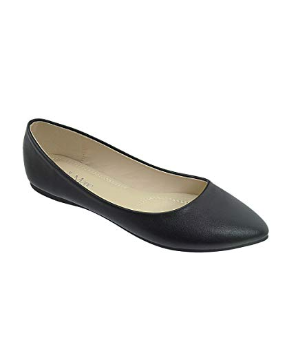 Bella Marie Angie-53 Women's Classic Pointy Toe Ballet Slip On Flats Shoes (6.5, ()