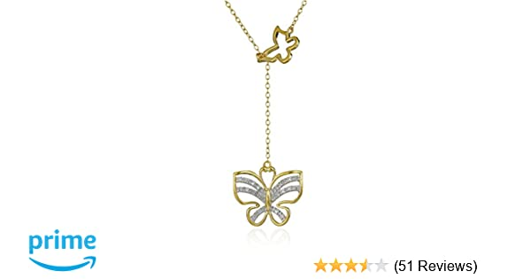 3d934b3976cee 18k Yellow Gold Plated Sterling Silver Diamond Accent Butterfly Necklace,  17