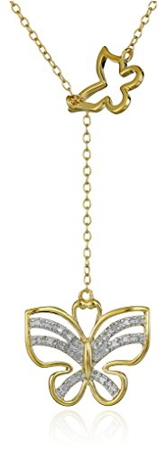 18k Yellow Gold Plated Sterling Silver Diamond Accent Butterfly Necklace, 17