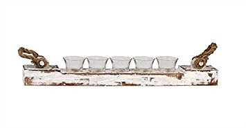 Wood Votive Candle Holder W/ 5 Glass Cups Distressed White Finish Rope Handles Country Home D ()