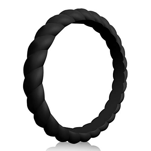 QVOW Silicone Rings for Women, Thin, Affordable and Stackable Rubber Wedding Bands for Athletes, Workout, Fitness, Gym, Exercise, Braided Design, Black, 3.0mm Wide, Size: 10 (19.8mm)
