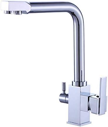 レトロな蛇口 3ウェイキッチンシンクタップ飲料水フィルターをタップしてクロム鉛フリーソリッドブラス建設スイベルスパウトデュアルレバーの蛇口ポリッシュ アンティーク真鍮の浴室の蛇口
