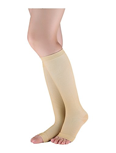 Toeless Knee Highs - uxcell Unisex Breathable One Size Toeless Compression Knee High Socks Beige