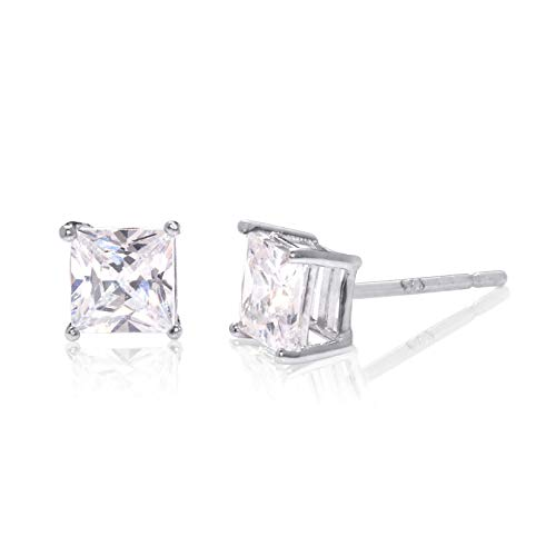 Square Princess Cut 4mm white Cubic Zirconia .925 Sterling Silver Basket Setting Unisex Stud Earrings