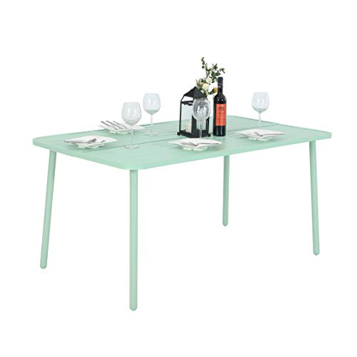 MF 6 Person Outdoor Patio Larger Rectangular Dining Table – Green