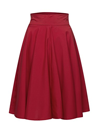 PERSUN Women's Red Flared High Waisted A line Street Skirt Skater Pleated Midi Skirt - Mid Length Chiffon