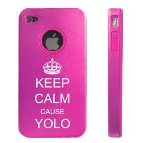 Apple iPhone 4 4S Hot Pink D5785 Aluminum & Silicone Case Cover Keep Calm cause YOLO
