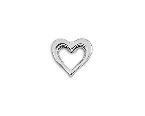 Red Heart Awareness Small Silver Open Heart Tac Pins (25 Pins Individually Bagged)