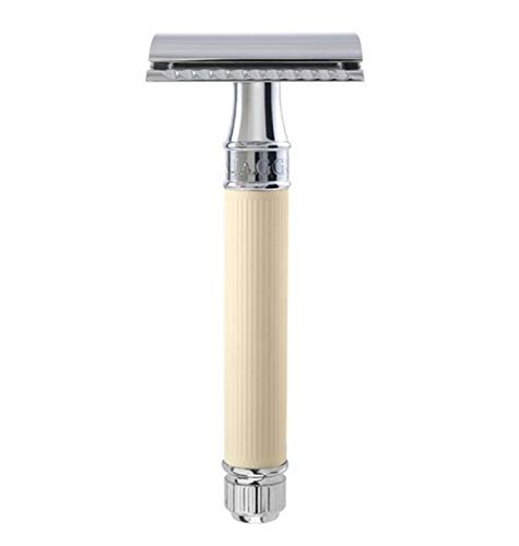 Edwin Jagger DE87 Safety Razor with Ivory Color Rubber Coated Handle