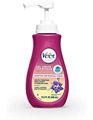 Hair Remover, Veet Gel Hair Removal Cream Sensitive, 13.5 Ounce, Sensitive formula with Aloe Vera and Vitamin E (Packaging May Vary)