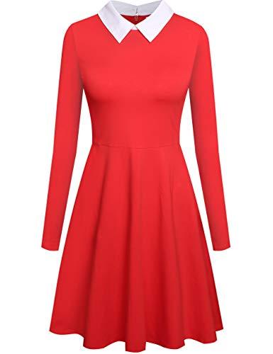 Aphratti Women's Long Sleeve Casual Shirt Peter Pan Collar Flare Dress Small -