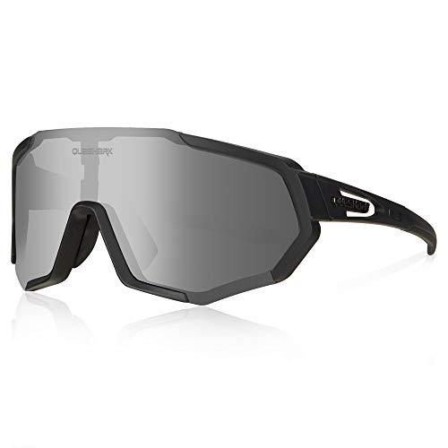 Queshark Fietsbril, TR90 Onbreekbaar Frame Gepolariseerde Sportzonnebril, Fietsbril Voor Heren Dames Met 3 Verwisselbare…