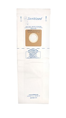 Janitized JAN-RAB-2(10) Premium Replacement Vacuum Paper Bag, Royal B, Hoover B, Tornado CK LW 13/1, Rubbermaid UL12, Power Flite PF62EC, OEM#66247, 1801406000, 4010103B (Pack of 10)