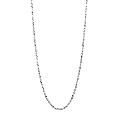 Sterling Silver Diamond Cut High Polished 1.5mm Italian Twisted Rope Chain Necklace (Plated Diamond Cut Rope Chain)