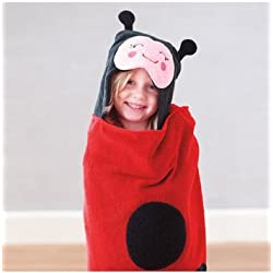 Carters Hooded Towel Lady Bug Black & Red Beach Bath Pool 50 x 27 NEW