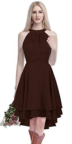 ThaliaDress Short Chiffon Halter Hi Lo Country Bridesmaid Dress Prom Gown T052LF Chocolate US26W