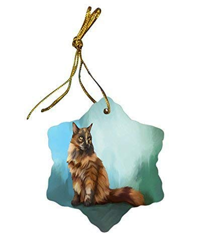 murieljerome long haired tortoise shell cat christmas snowflake ceramic christmas ornaments funny novelty porcelain hanging christmas