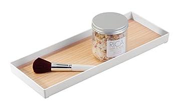 mDesign Bandeja decorativa para cosméticos, perfumes y toallas con acabado de madera – Elegante bandeja