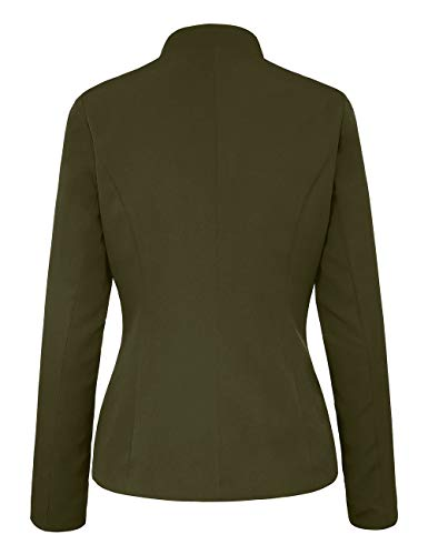 luvamia Ladies Open Front Solid Color Business Blazer Casual Buttons Outerwear Black Size X-Large (Fits US 16-US 18) by luvamia (Image #4)