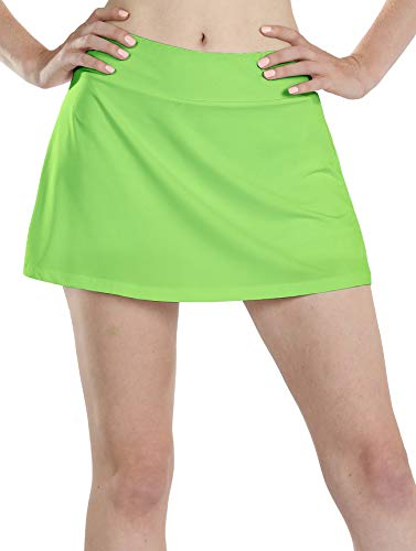 icyzone Athletic Skirts for Women - Workout Running Golf Tennis Skort with Pockets (M, Lime -