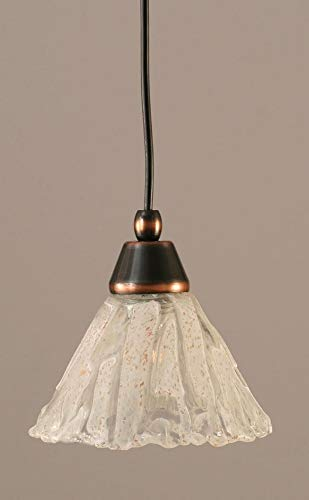 Toltec Lighting 22-BC-7195 Cord Mini-Pendant Light Black Copper Finish with Italian Ice Glass, 7-Inch