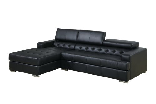 Alair Bonded Leather Sectional Sofa with Adjustable Headrests, Black (Furntiure Living Room Furniture)