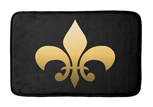 Aomsnet Gold Fleur de lis Bathroom Decor Mat, Shower Rug Mat Water Absorbent Fast Drying Kitchen, Bedroom, Hotel, Spa Tub. 30