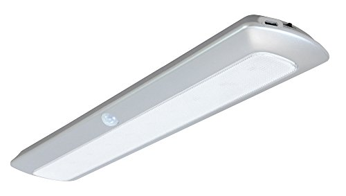 Good Earth Lighting 12-Inch Rechargeable Lithium Ion Battery LED Motion-Activated Light Bar - Silver - 4000K - Motion Sensing up to 15 ft