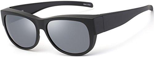 CAXMAN Polarized Fit Over Glasses Sunglasses for Prescription Glasses, Medium Size, Matte Black Frame with Grey Lens, 100% UV ()