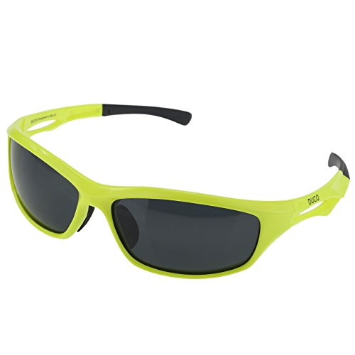 DUCO Polarized Sunglasses for Running Cycling TR90 Unbreakable Frame 6199 Fluorescent Green