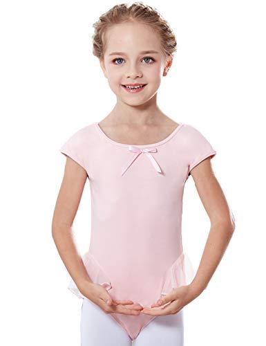 MdnMd Girls' Cap Sleeve Flutter Leotard Dress (4-6 / Small, Ballet Pink)